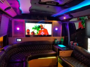 the deluxe party bus inside